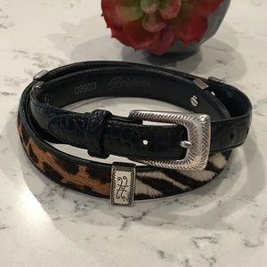 Black leather, cheetah/zebra calf hair belt